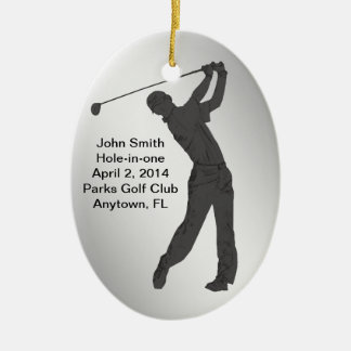 Golf Hole-in-one Commemoration Customizable Double-Sided Oval Ceramic Christmas Ornament