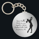 """Golf Hole-in-one Commemoration, Customizable Keychain<br><div class=""""desc"""">The image shows a female golfer in full swing.  The Hole-in-one Commemoration information is a template that is easily customized.   This is a gift sure to please any golfer lucky enough to get a hole-in-one.</div>"""