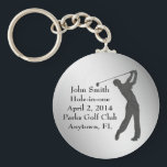 "Golf Hole-in-one Commemoration Customizable Keychain<br><div class=""desc"">The outline of a golfer swing his club is sure to please the golf lover.  The Hole-in-one Commemoration information is a template that is easily customized.   This is a gift sure to please any golfer lucky enough to get a hole-in-one.</div>"