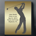 """Golf Hole-in-one Commemoration Customizable Plaque<br><div class=""""desc"""">The outline of a golfer swing his club is sure to please the golf lover.   The Hole-in-one Commemoration information is a template that is easily customized.   This is a gift sure to please any golfer lucky enough to get a hole-in-one.</div>"""