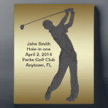 "Golf Hole-in-one Commemoration Customizable Plaque<br><div class=""desc"">The outline of a golfer swing his club is sure to please the golf lover.   The Hole-in-one Commemoration information is a template that is easily customized.   This is a gift sure to please any golfer lucky enough to get a hole-in-one.</div>"