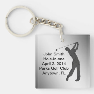 Golf Hole-in-one Commemoration Customizable Single-Sided Square Acrylic Keychain
