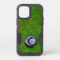Golf Hole in One Modern Golf Ball Monogram Green OtterBox Commuter iPhone 12 Mini Case