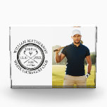 """Golf Hole in One Personalized Golfer Photo Acrylic Award<br><div class=""""desc"""">Personalize the golfer's photo,  name,  location hole number and date to create a great keepsake to celebrate that fantastic hole in one golf award. Designed by Thisisnotme©</div>"""