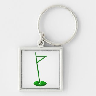 Golf Hole Marker Silver-Colored Square Keychain