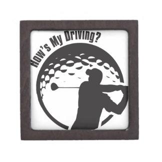 Golf How's My Driving Grandpa Dad Golfer Keepsake Box