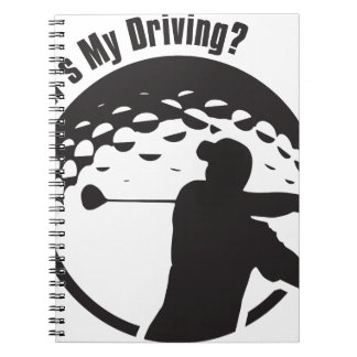 Golf How's My Driving Grandpa Dad Golfer Notebook