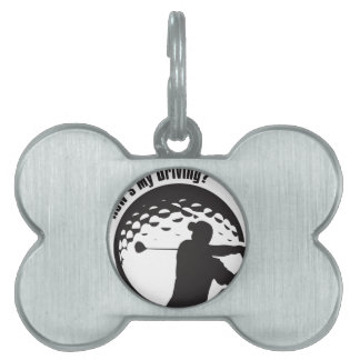 Golf How's My Driving Grandpa Dad Golfer Pet Name Tag