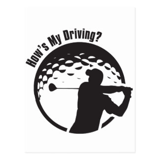Golf How's My Driving Grandpa Dad Golfer Postcard