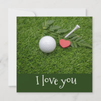 Golf I love you with golf ball and red heart