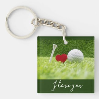 Golf I love you with tee and golf ball with love Keychain
