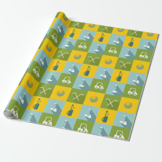 Golf Icons in Gold Green and Blue Squares Wrapping Paper
