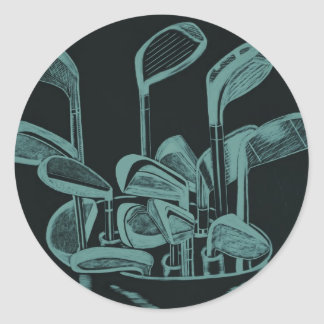 Golf Implements Classic Round Sticker