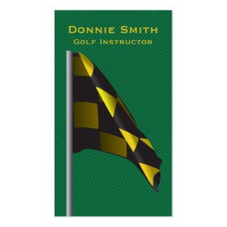 Golf Instructor Business Card Yellow Black Green