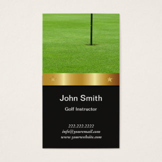 Golf Instructor Modern Gold Belt Business Card