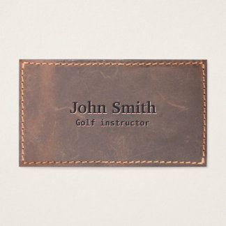 Golf Instructor Vintage Sewed Leather Business Card