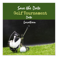 Golf invitation with golf ball and bag on green
