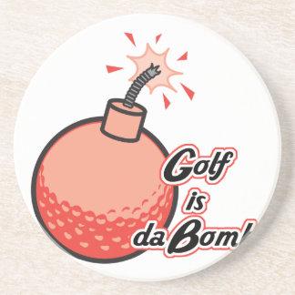 golf is da bomb beverage coaster