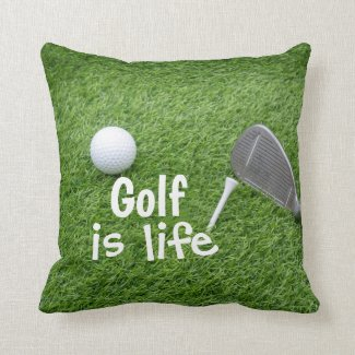 Golf is life with golf ball and tee on green throw pillow