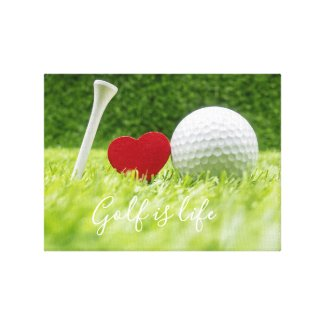 Golf is life with golf ball and tee with love Phot Canvas Print