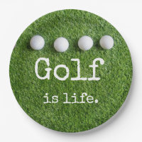 Golf is life with golf balls are on green grass paper plate