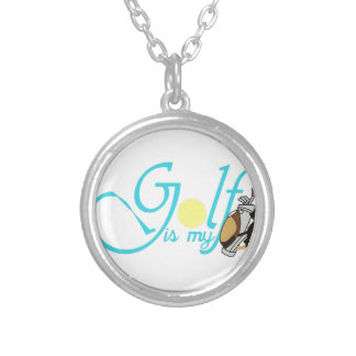 Golf is my Bag Round Pendant Necklace