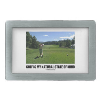 Golf Is My Natural State Of Mind (Golfer Golfing) Rectangular Belt Buckle