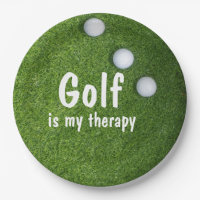 Golf is my therapy with  golf balls on green paper plate