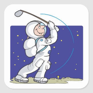 Golf Is Out Of This World Square Sticker