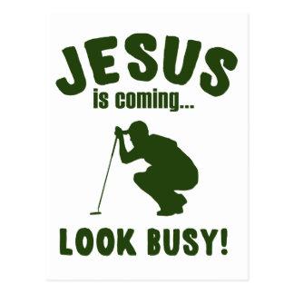 Golf - Jesus Is Coming...Look Busy Postcard