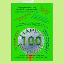 Golf Jokes birthday card for 100 year old