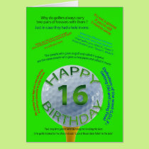 Golf Jokes birthday card for 16 year old