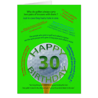 Golf Jokes birthday card for 30 year old
