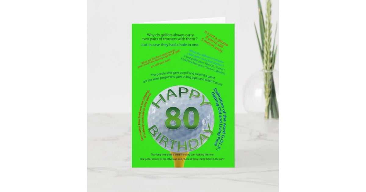 Golf Jokes Birthday Card For 80 Year Old