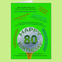 Golf Jokes birthday card for 80 year old