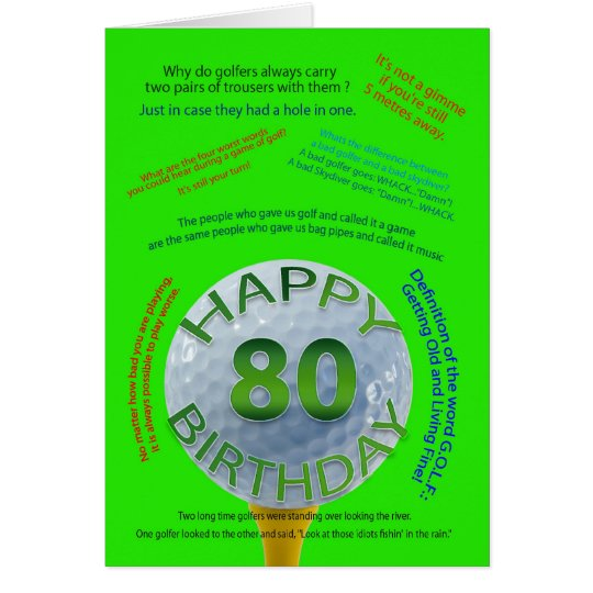 Golf jokes birthday card for 80 year old zazzle golf jokes birthday card for 80 year old bookmarktalkfo Choice Image