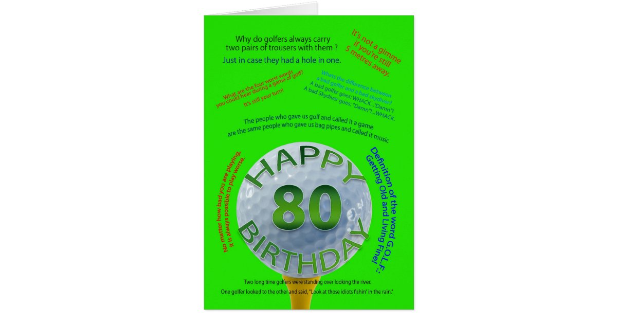 Golf jokes birthday card for 80 year old zazzle bookmarktalkfo Choice Image