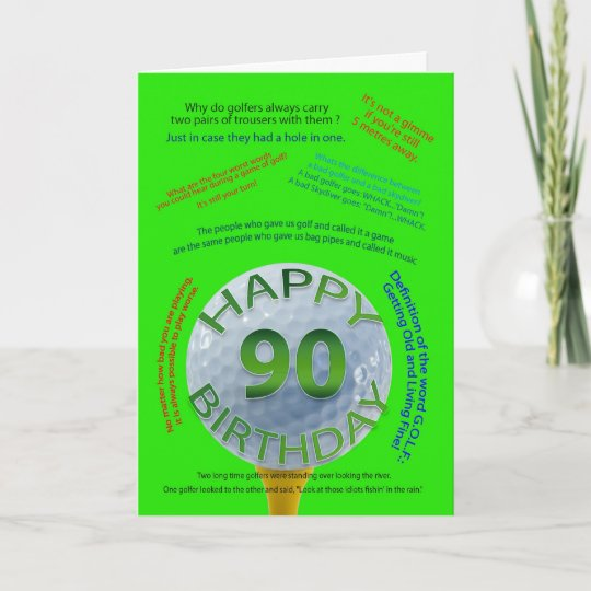 Golf Jokes Birthday Card For 90 Year Old