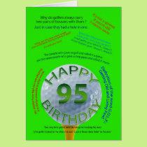 Golf Jokes birthday card for 95 year old