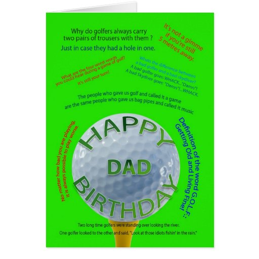 Golf Jokes Birthday Card For Dad