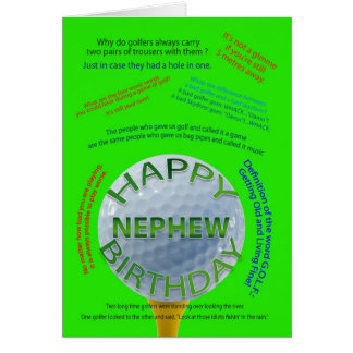 Golf Jokes birthday card for Nephew