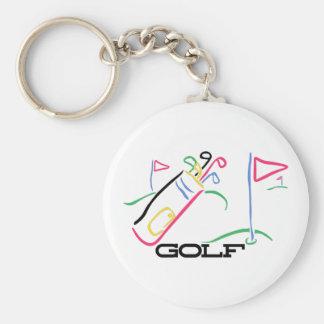 Golf Basic Round Button Keychain
