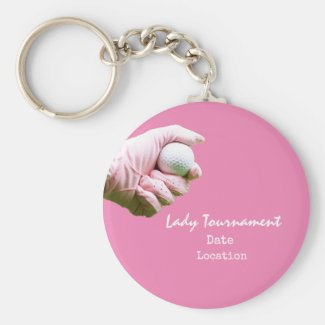 Golf keychain with lady golfer wears pink glove