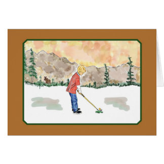 Golf Kids Cards-boy and moose Card