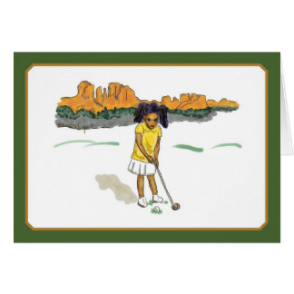 Golf Kids Cards, girl and red rocks Card