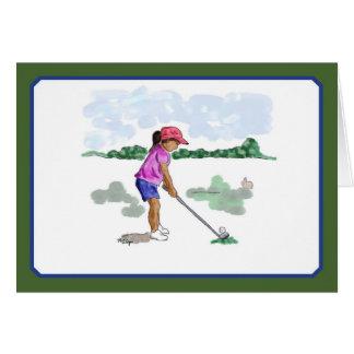 Golf Kids Cards, girl in pink shirt Card