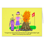 """Golf Lady Greeting Card-""""Irons in the Fire"""" Card"""