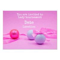 Golf Lady Tournament with golf ball pink ribbon Invitation
