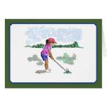 Golf las tarjetas de los niños, chica en camisa ro