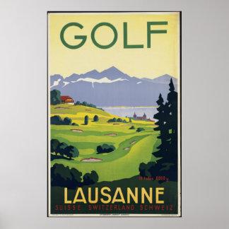 Golf Lausanne Vintage Travel Poster Ad Retro Print